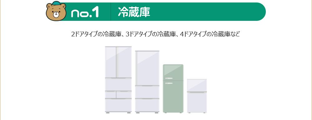 No.1 冷蔵庫|2ドアタイプの冷蔵庫、3ドアタイプの冷蔵庫、4ドアタイプの冷蔵庫など